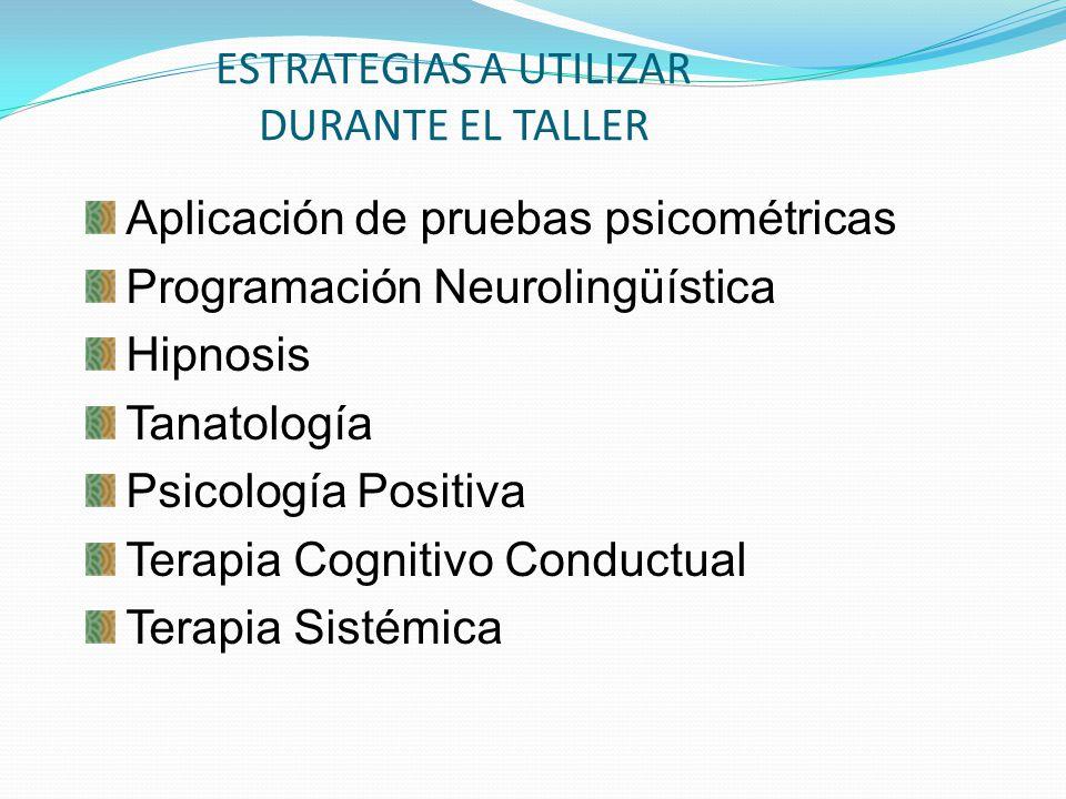 ESTRATEGIAS A UTILIZAR DURANTE EL TALLER Aplicación de pruebas psicométricas Programación Neurolingüística Hipnosis Tanatología Psicología Positiva Te