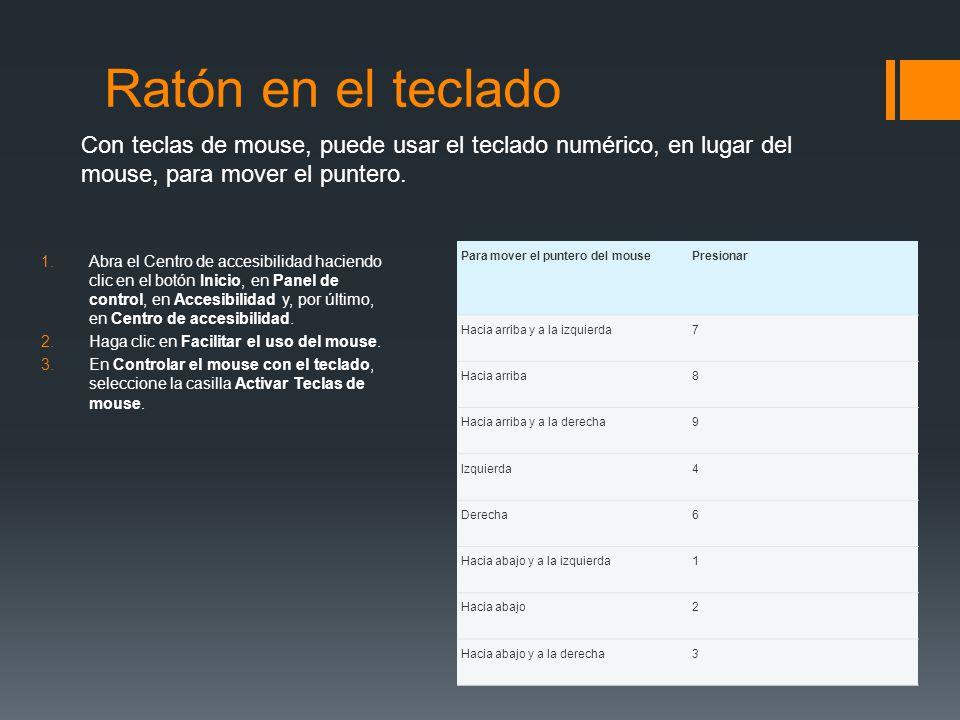 Ratón en el teclado 1.Abra el Centro de accesibilidad haciendo clic en el botón Inicio, en Panel de control, en Accesibilidad y, por último, en Centro