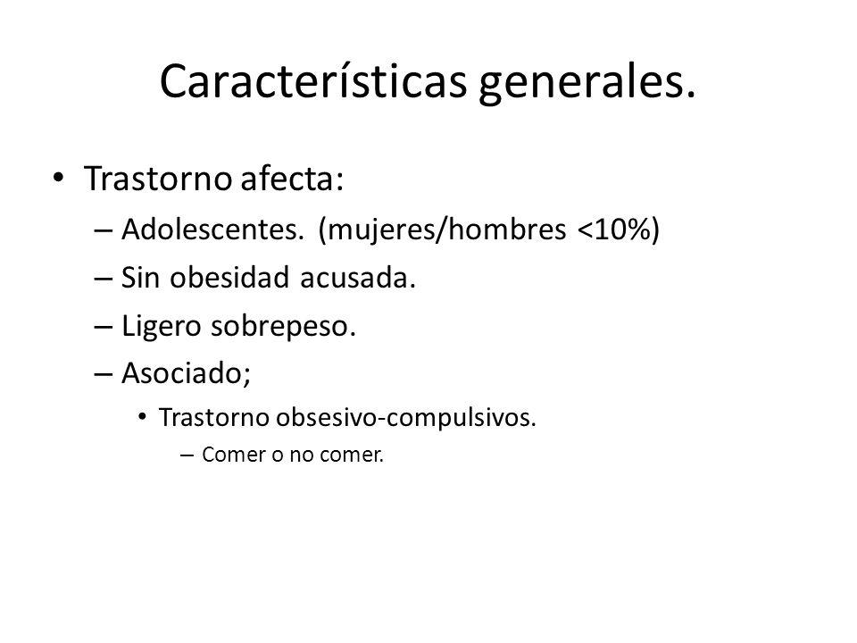 Características generales. Trastorno afecta: – Adolescentes. (mujeres/hombres <10%) – Sin obesidad acusada. – Ligero sobrepeso. – Asociado; Trastorno