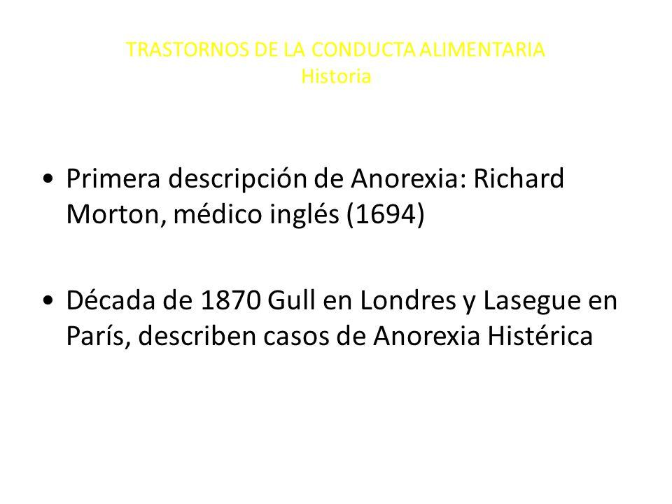 TRASTORNOS DE LA CONDUCTA ALIMENTARIA Historia Primera descripción de Anorexia: Richard Morton, médico inglés (1694) Década de 1870 Gull en Londres y