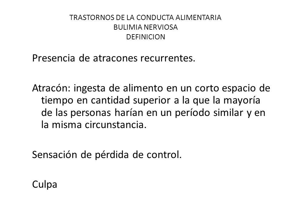TRASTORNOS DE LA CONDUCTA ALIMENTARIA BULIMIA NERVIOSA DEFINICION Presencia de atracones recurrentes.