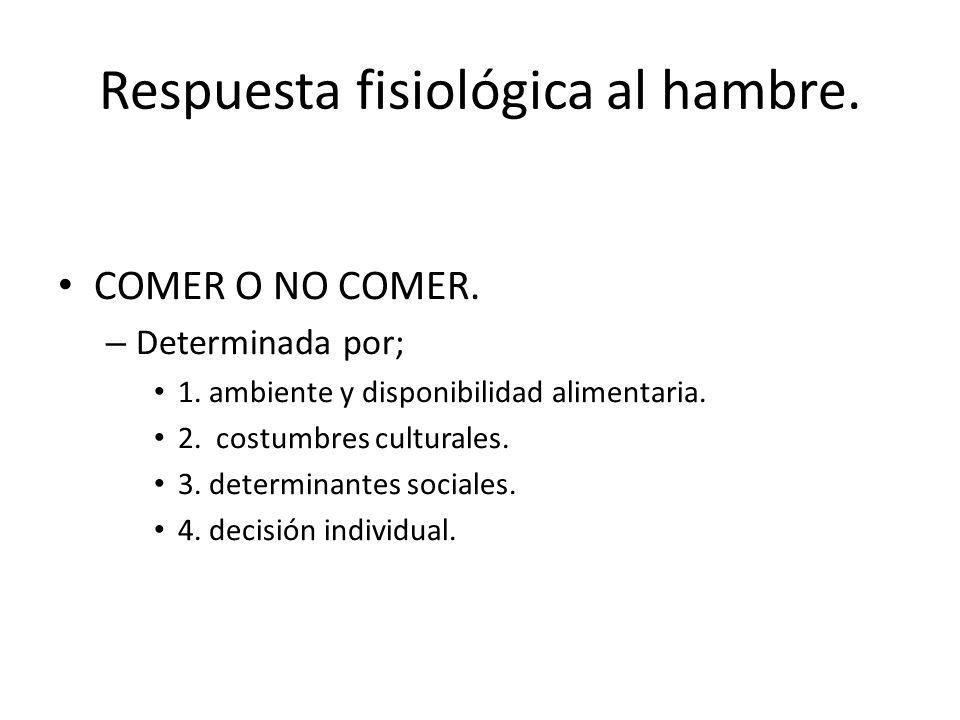 Respuesta fisiológica al hambre. COMER O NO COMER. – Determinada por; 1. ambiente y disponibilidad alimentaria. 2. costumbres culturales. 3. determina