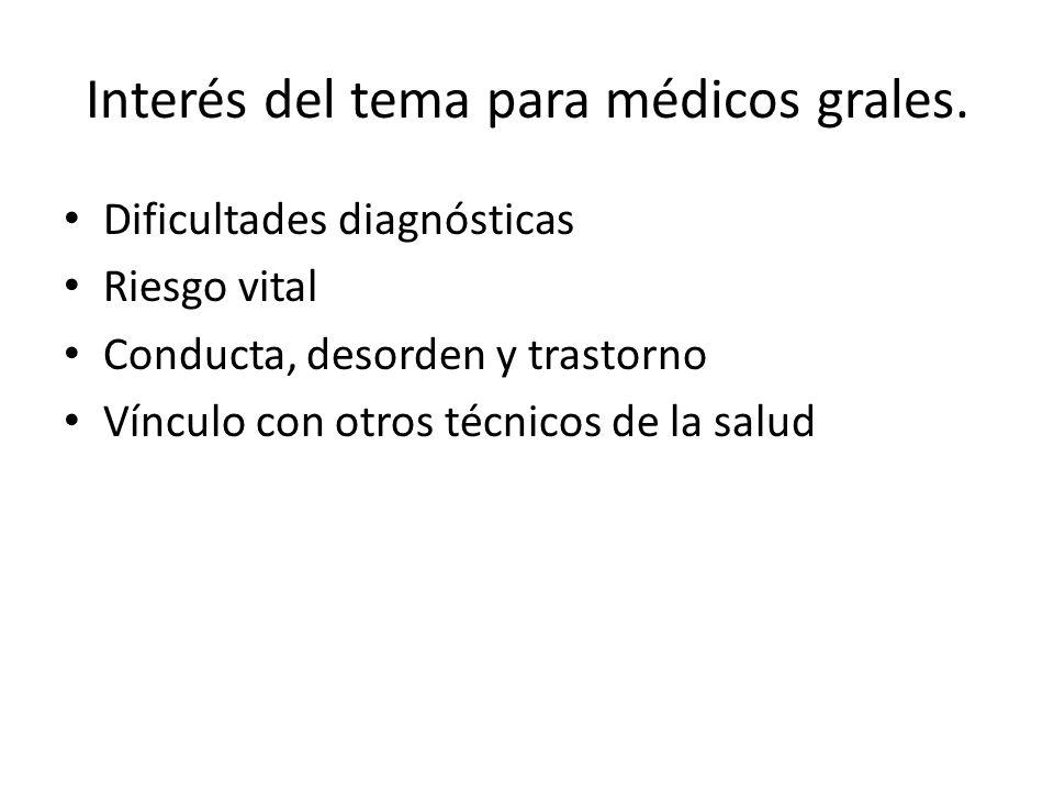 Interés del tema para médicos grales. Dificultades diagnósticas Riesgo vital Conducta, desorden y trastorno Vínculo con otros técnicos de la salud