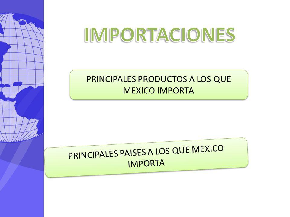 PRINCIPALES PRODUCTOS A LOS QUE MEXICO IMPORTA PRINCIPALES PAISES A LOS QUE MEXICO IMPORTA