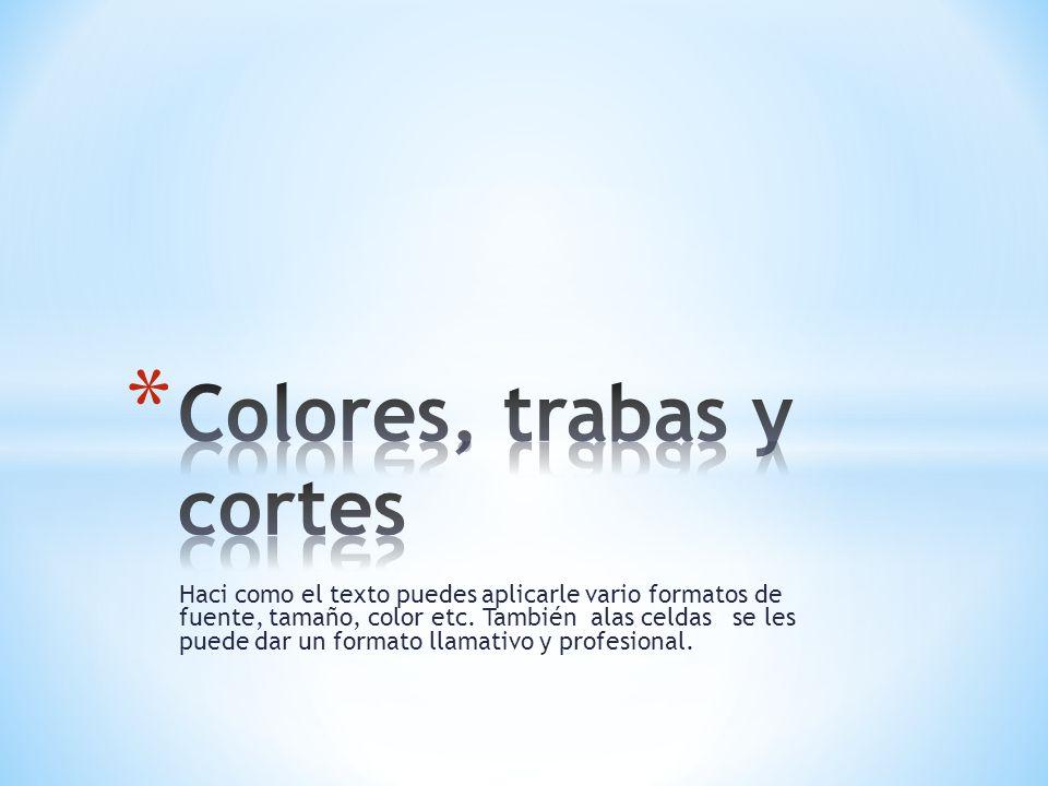 Haci como el texto puedes aplicarle vario formatos de fuente, tamaño, color etc.