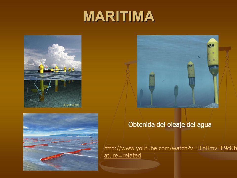 MARITIMA Obtenida del oleaje del agua http://www.youtube.com/watch?v=iTplImvTF9c&fe ature=related