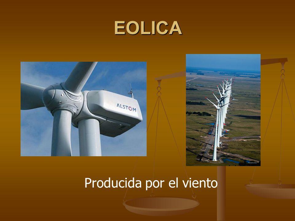 EOLICA Producida por el viento