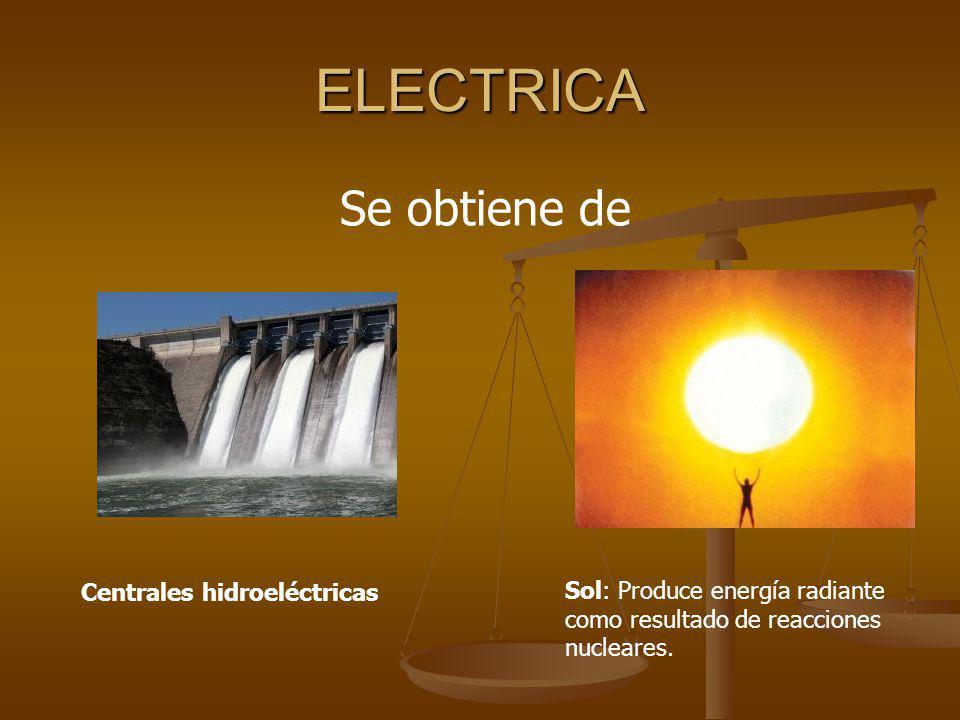 ELECTRICA Se obtiene de Centrales hidroeléctricas Sol: Produce energía radiante como resultado de reacciones nucleares.