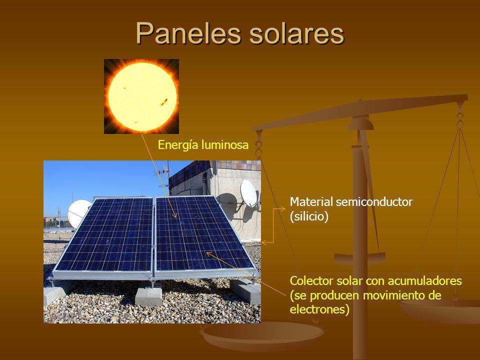 Paneles solares Material semiconductor (silicio) Energía luminosa Colector solar con acumuladores (se producen movimiento de electrones)