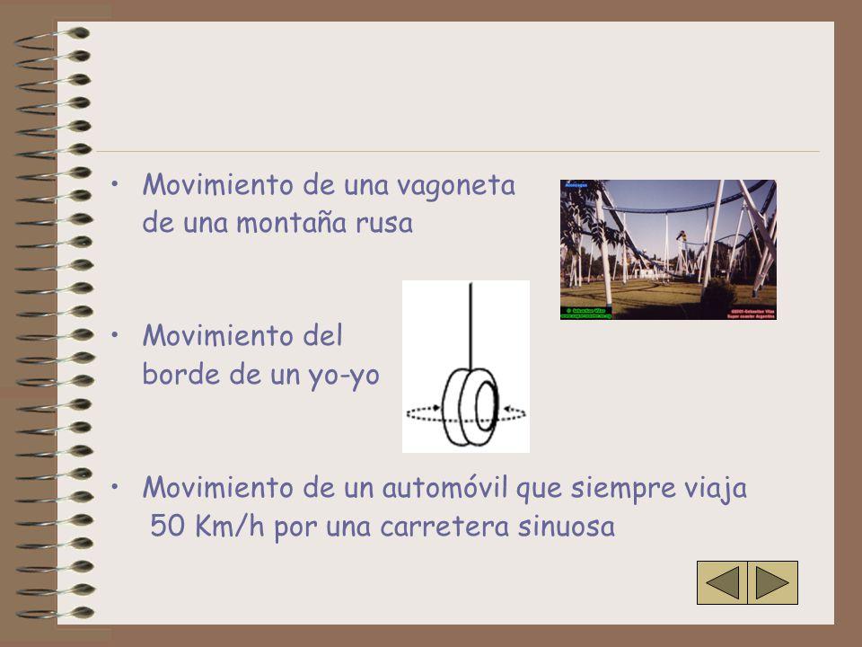 Movimiento de una vagoneta de una montaña rusa Movimiento del borde de un yo-yo Movimiento de un automóvil que siempre viaja 50 Km/h por una carretera sinuosa