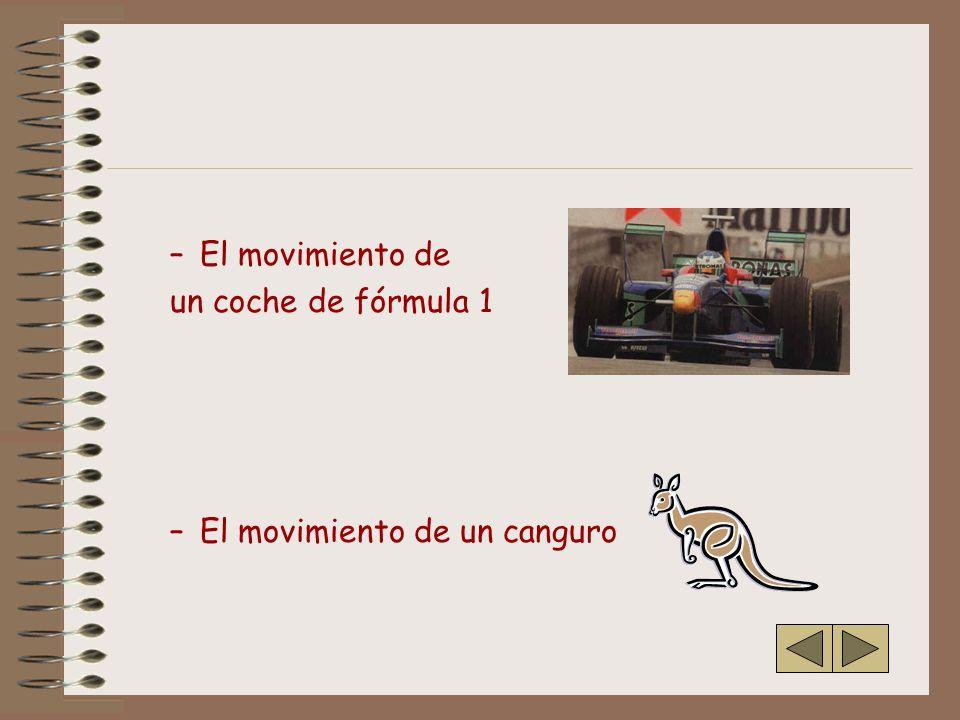 –El movimiento de un coche de fórmula 1 –El movimiento de un canguro