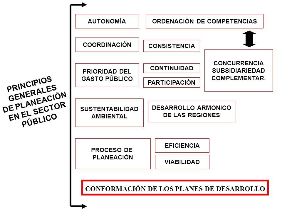 PRINCIPIOS GENERALES DE PLANEACIÓN EN EL SECTOR PÚBLICO AUTONOMÍAORDENACIÓN DE COMPETENCIAS COORDINACIÓN PRIORIDAD DEL GASTO PÚBLICO SUSTENTABILIDAD AMBIENTAL PROCESO DE PLANEACIÓN CONSISTENCIA CONTINUIDAD PARTICIPACIÓN DESARROLLO ARMONICO DE LAS REGIONES CONCURRENCIA SUBSIDIARIEDAD COMPLEMENTAR.