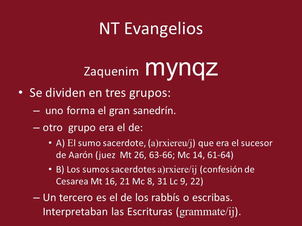 NT Evangelios Zaquenim mynqz Se dividen en tres grupos: – uno forma el gran sanedrín. – otro grupo era el de: A) E l sumo sacerdote, ( a)rxiereu/j ) q