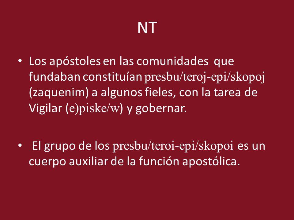 NT Los apóstoles en las comunidades que fundaban constituían presbu/teroj-epi/skopoj (zaquenim) a algunos fieles, con la tarea de Vigilar ( e)piske/w