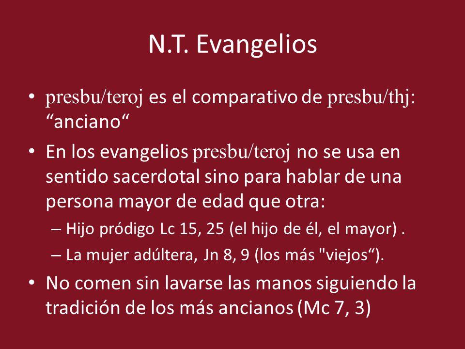 presbu/teroj es el comparativo de presbu/thj: anciano En los evangelios presbu/teroj no se usa en sentido sacerdotal sino para hablar de una persona m