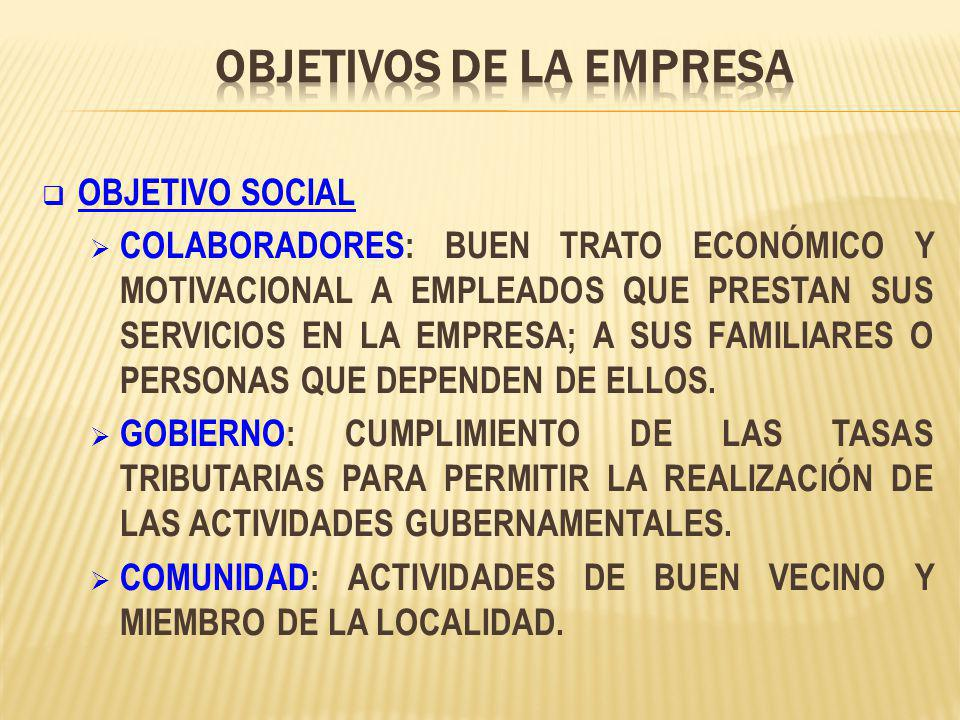 OBJETIVO SOCIAL COLABORADORES: BUEN TRATO ECONÓMICO Y MOTIVACIONAL A EMPLEADOS QUE PRESTAN SUS SERVICIOS EN LA EMPRESA; A SUS FAMILIARES O PERSONAS QUE DEPENDEN DE ELLOS.