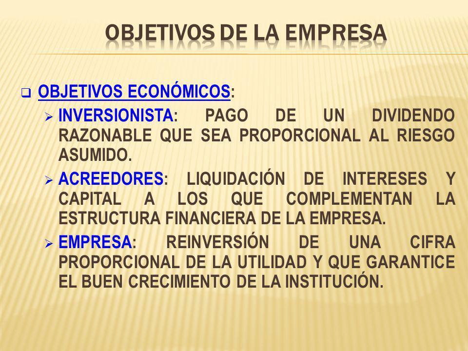 OBJETIVOS ECONÓMICOS: INVERSIONISTA: PAGO DE UN DIVIDENDO RAZONABLE QUE SEA PROPORCIONAL AL RIESGO ASUMIDO.