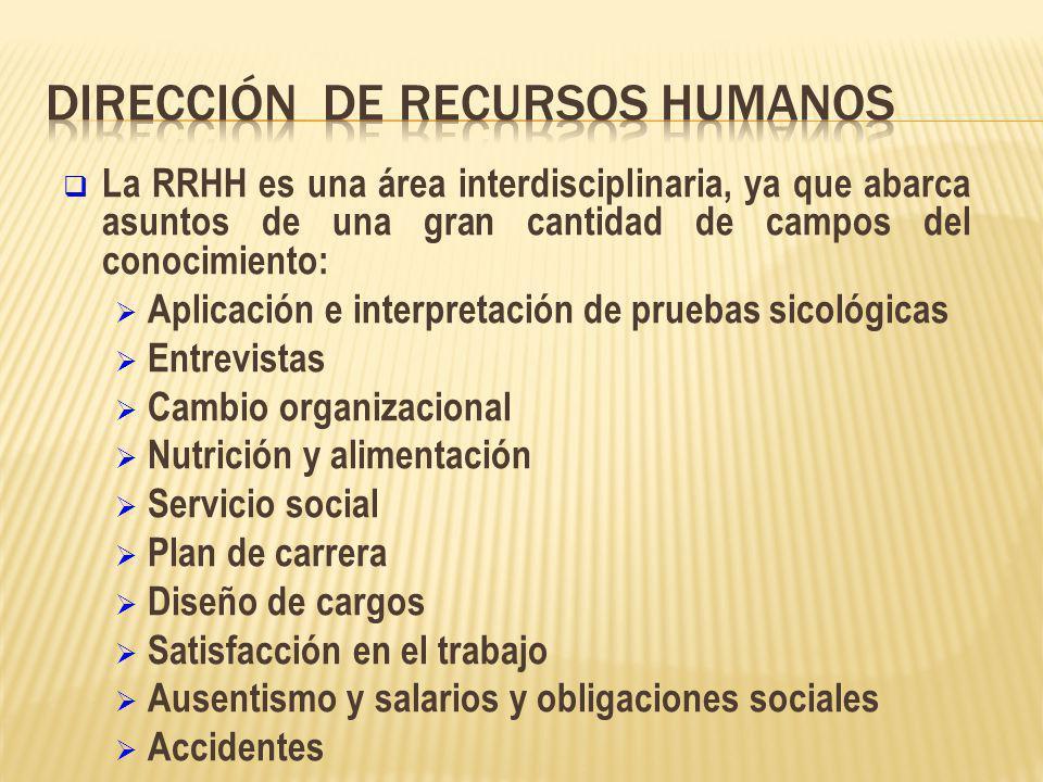 La RRHH es una área interdisciplinaria, ya que abarca asuntos de una gran cantidad de campos del conocimiento: Aplicación e interpretación de pruebas