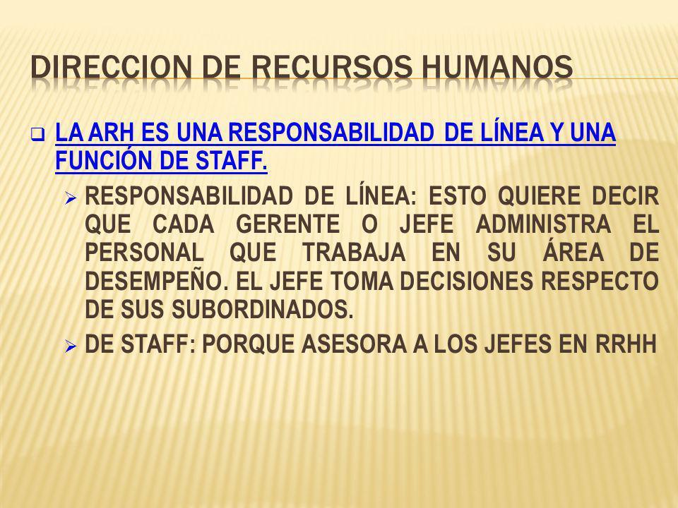 LA ARH ES UNA RESPONSABILIDAD DE LÍNEA Y UNA FUNCIÓN DE STAFF.