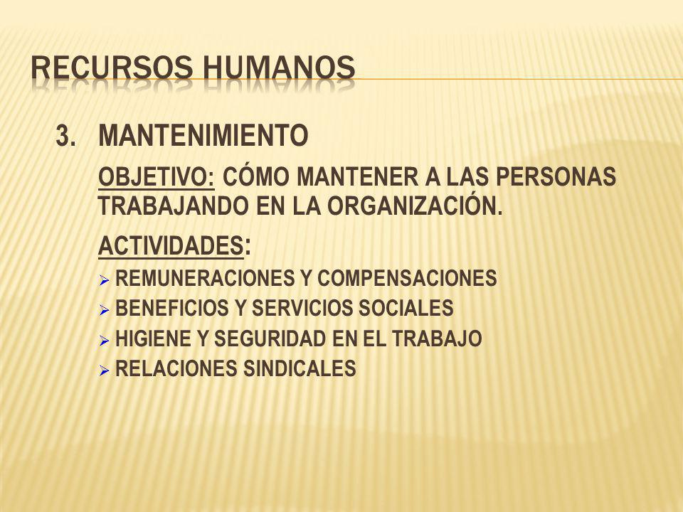 3.MANTENIMIENTO OBJETIVO: CÓMO MANTENER A LAS PERSONAS TRABAJANDO EN LA ORGANIZACIÓN. ACTIVIDADES : REMUNERACIONES Y COMPENSACIONES BENEFICIOS Y SERVI