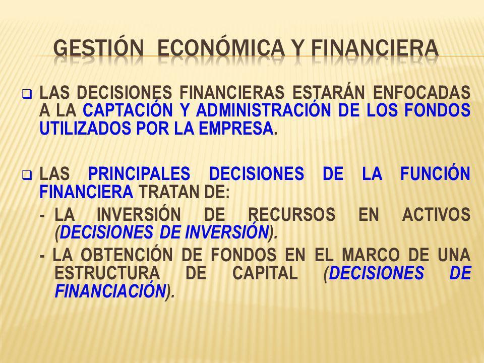 LAS DECISIONES FINANCIERAS ESTARÁN ENFOCADAS A LA CAPTACIÓN Y ADMINISTRACIÓN DE LOS FONDOS UTILIZADOS POR LA EMPRESA. LAS PRINCIPALES DECISIONES DE LA