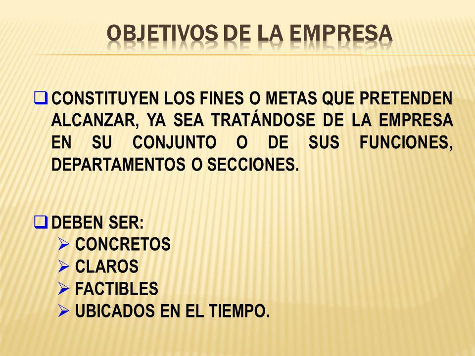 CONSTITUYEN LOS FINES O METAS QUE PRETENDEN ALCANZAR, YA SEA TRATÁNDOSE DE LA EMPRESA EN SU CONJUNTO O DE SUS FUNCIONES, DEPARTAMENTOS O SECCIONES. DE