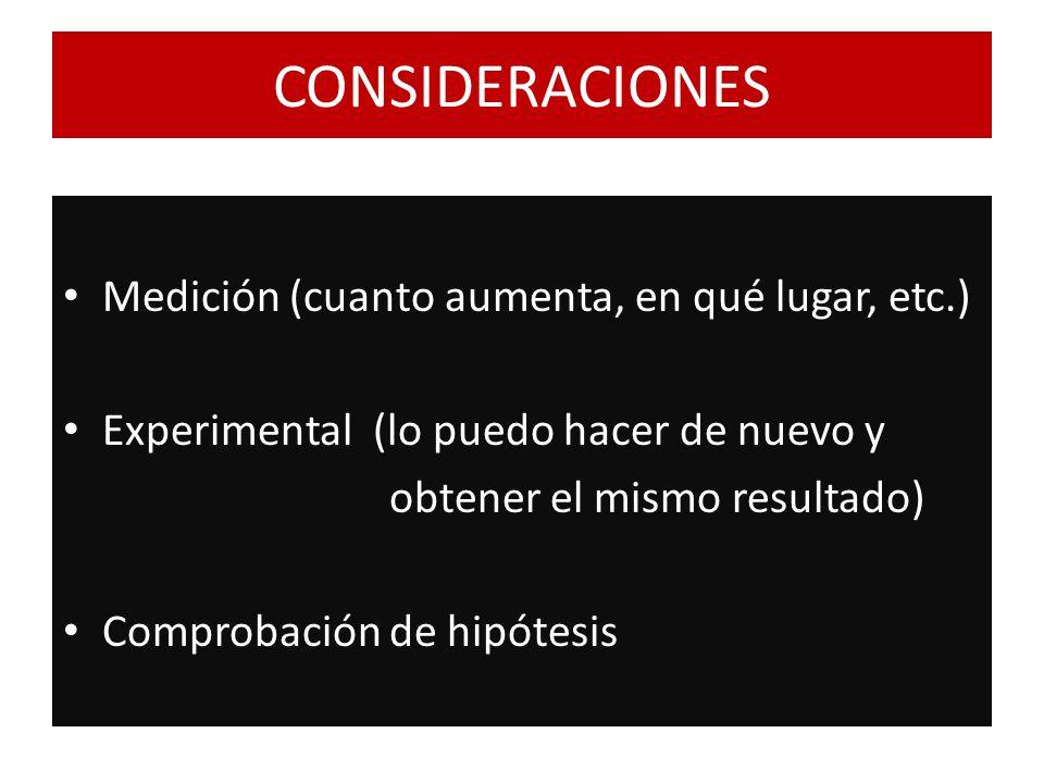 CONSIDERACIONES Medición (cuanto aumenta, en qué lugar, etc.) Experimental (lo puedo hacer de nuevo y obtener el mismo resultado) Comprobación de hipó