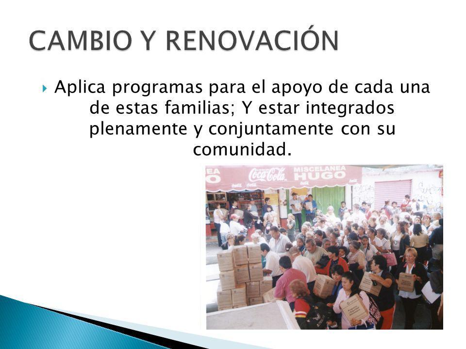 Aplica programas para el apoyo de cada una de estas familias; Y estar integrados plenamente y conjuntamente con su comunidad.