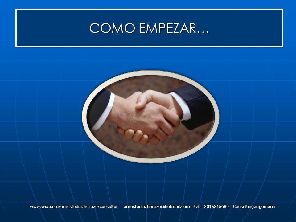 COMO EMPEZAR… www.wix.com/ernestodiazherazo/consultor ernestodiazherazo@hotmail.com tel: 3015815689 Consulting.ingeniería
