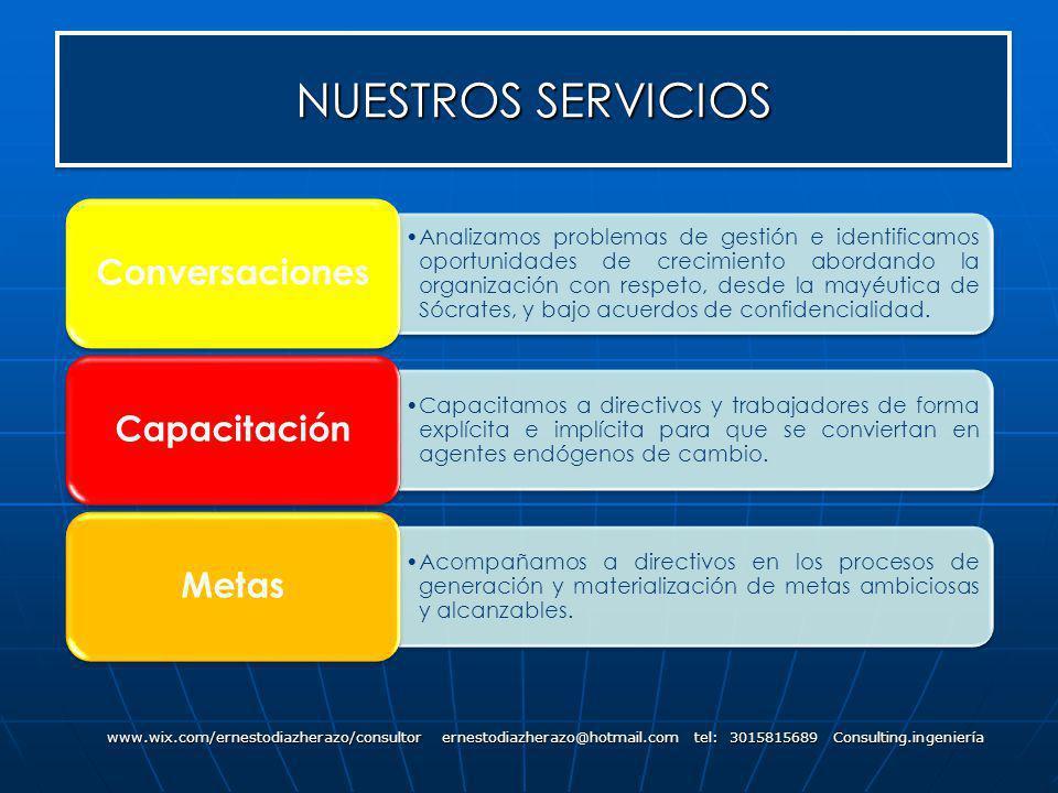NUESTROS SERVICIOS www.wix.com/ernestodiazherazo/consultor ernestodiazherazo@hotmail.com tel: 3015815689 Consulting.ingeniería Analizamos problemas de