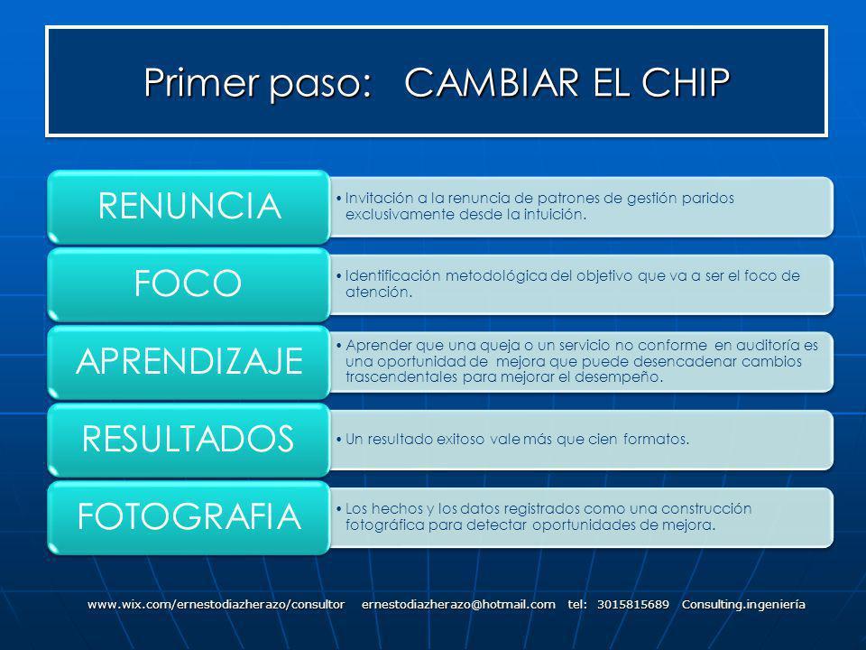 Primer paso: CAMBIAR EL CHIP www.wix.com/ernestodiazherazo/consultor ernestodiazherazo@hotmail.com tel: 3015815689 Consulting.ingeniería Invitación a