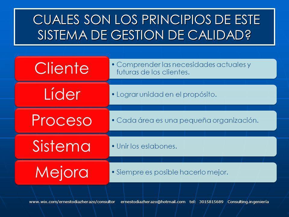 CUALES SON LOS PRINCIPIOS DE ESTE SISTEMA DE GESTION DE CALIDAD? CUALES SON LOS PRINCIPIOS DE ESTE SISTEMA DE GESTION DE CALIDAD? www.wix.com/ernestod