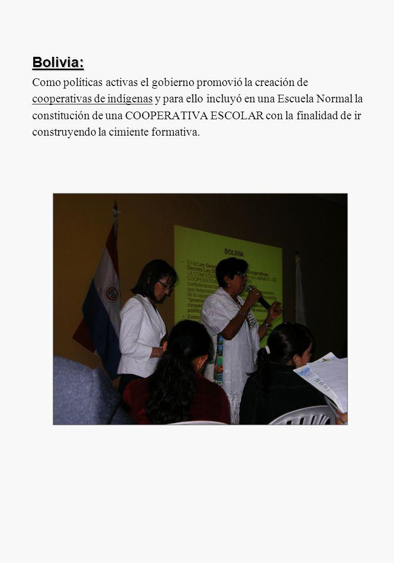 Bolivia: Como políticas activas el gobierno promovió la creación de cooperativas de indígenas y para ello incluyó en una Escuela Normal la constitució