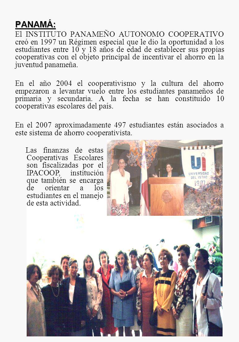 PANAMÁ: El INSTITUTO PANAMEÑO AUTONOMO COOPERATIVO creó en 1997 un Régimen especial que le dio la oportunidad a los estudiantes entre 10 y 18 años de