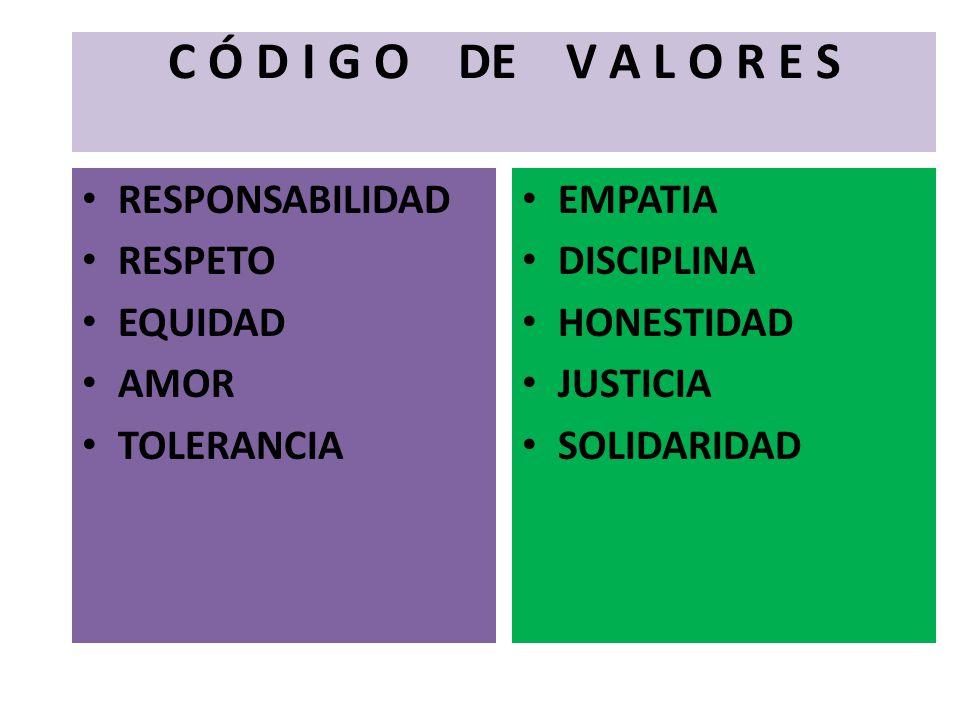 C Ó D I G O DE V A L O R E S RESPONSABILIDAD RESPETO EQUIDAD AMOR TOLERANCIA EMPATIA DISCIPLINA HONESTIDAD JUSTICIA SOLIDARIDAD