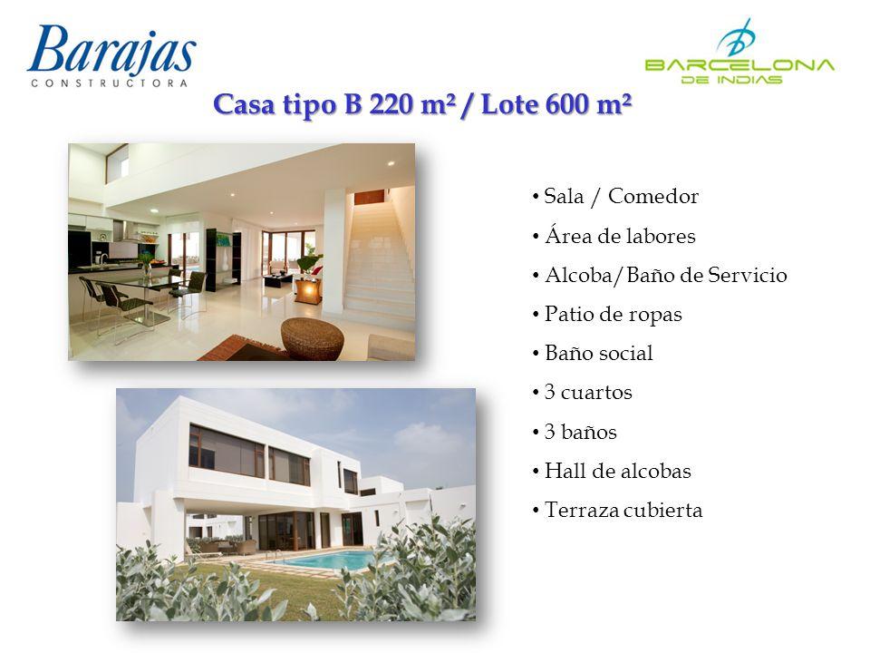 Casa tipo B 220 m² / Lote 600 m² Sala / Comedor Área de labores Alcoba/Baño de Servicio Patio de ropas Baño social 3 cuartos 3 baños Hall de alcobas Terraza cubierta