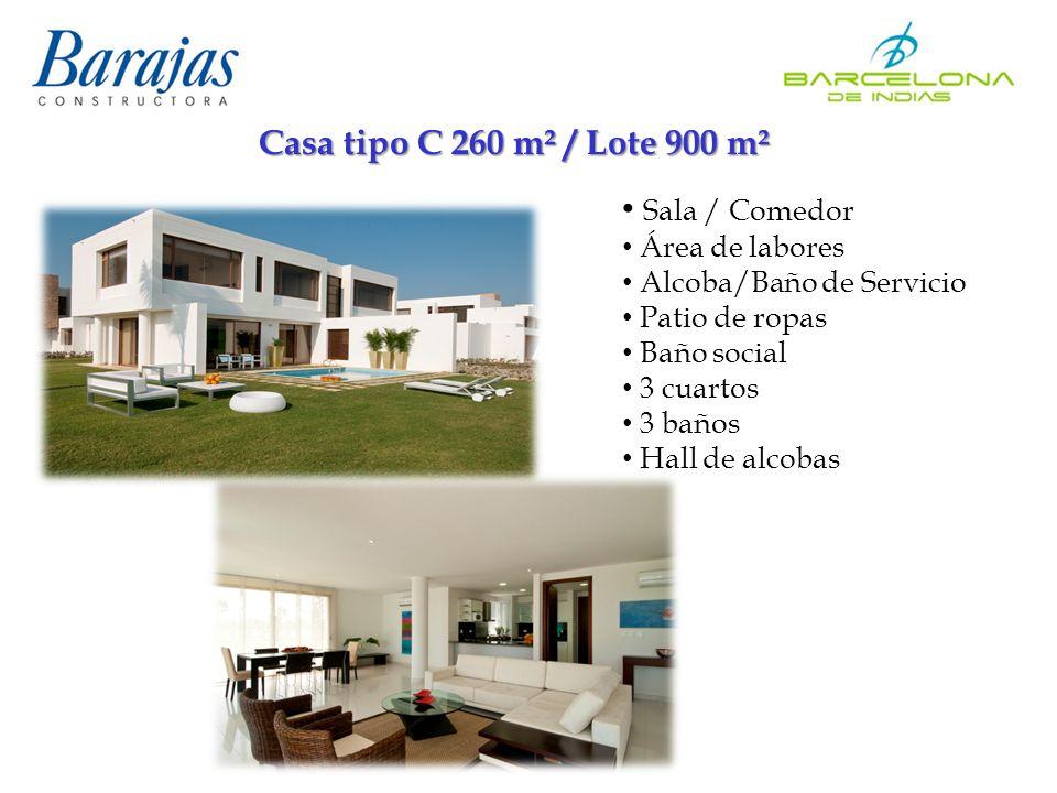 Casa tipo C 260 m² / Lote 900 m² Sala / Comedor Área de labores Alcoba/Baño de Servicio Patio de ropas Baño social 3 cuartos 3 baños Hall de alcobas