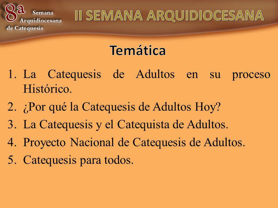 1.La Catequesis de Adultos en su proceso Histórico. 2.¿Por qué la Catequesis de Adultos Hoy? 3.La Catequesis y el Catequista de Adultos. 4.Proyecto Na