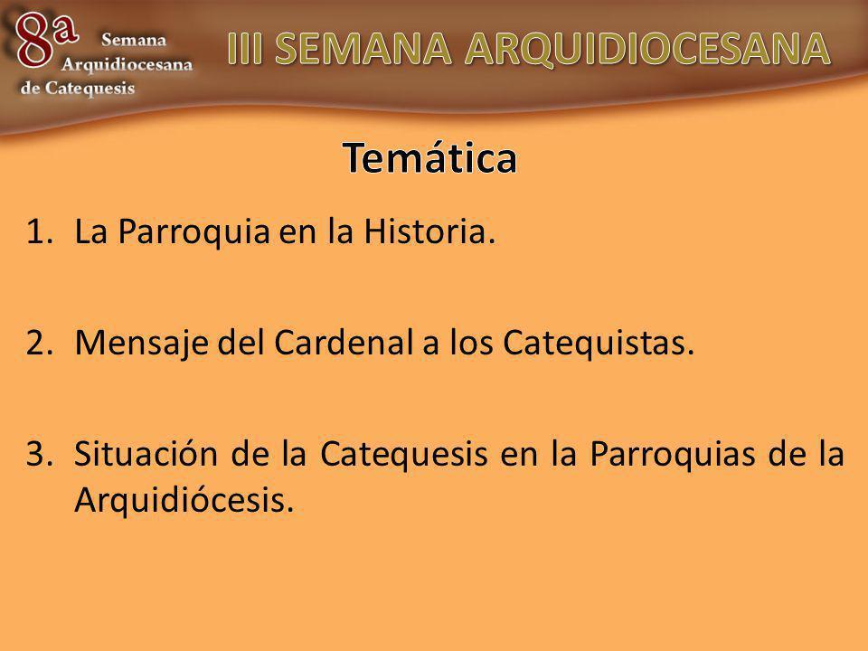 1.La Parroquia en la Historia. 2.Mensaje del Cardenal a los Catequistas. 3.Situación de la Catequesis en la Parroquias de la Arquidiócesis.
