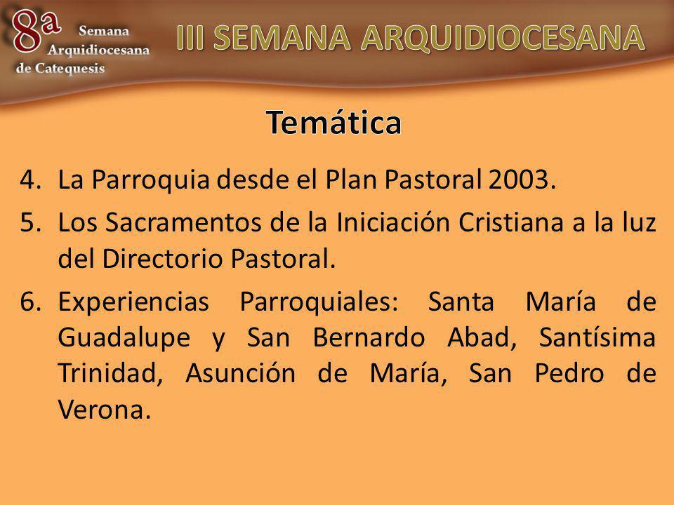 4.La Parroquia desde el Plan Pastoral 2003. 5.Los Sacramentos de la Iniciación Cristiana a la luz del Directorio Pastoral. 6.Experiencias Parroquiales
