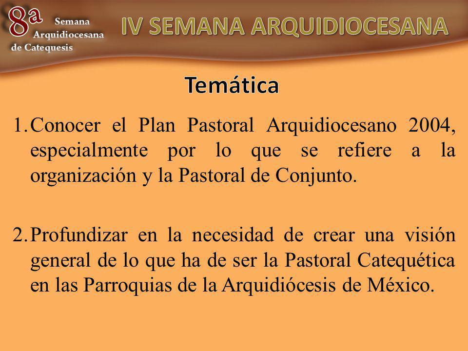1.Conocer el Plan Pastoral Arquidiocesano 2004, especialmente por lo que se refiere a la organización y la Pastoral de Conjunto. 2.Profundizar en la n