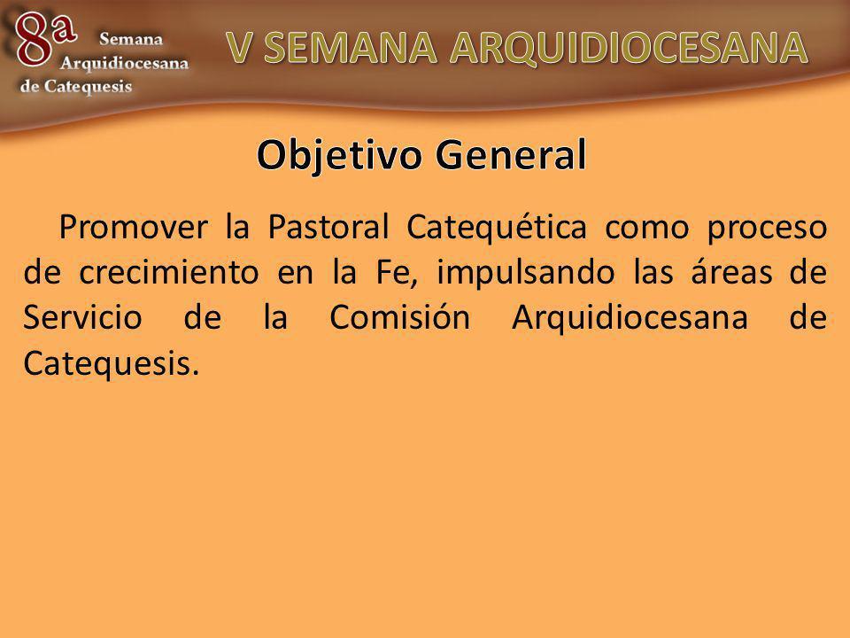 Promover la Pastoral Catequética como proceso de crecimiento en la Fe, impulsando las áreas de Servicio de la Comisión Arquidiocesana de Catequesis.