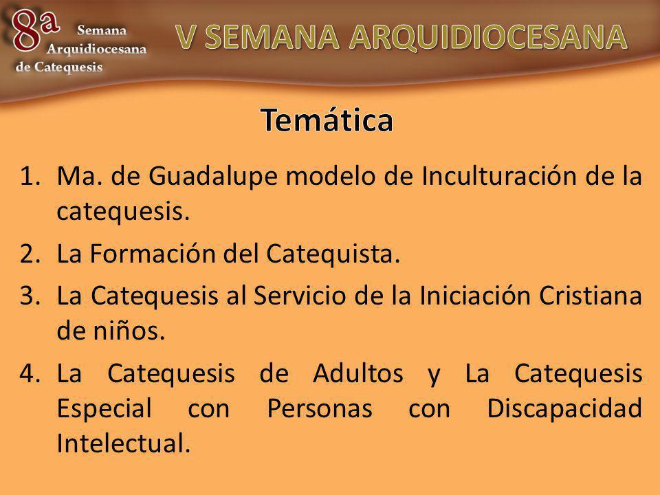 1.Ma. de Guadalupe modelo de Inculturación de la catequesis. 2.La Formación del Catequista. 3.La Catequesis al Servicio de la Iniciación Cristiana de