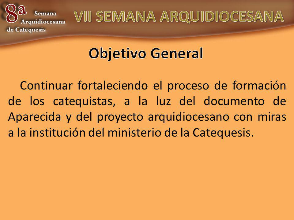 Continuar fortaleciendo el proceso de formación de los catequistas, a la luz del documento de Aparecida y del proyecto arquidiocesano con miras a la institución del ministerio de la Catequesis.