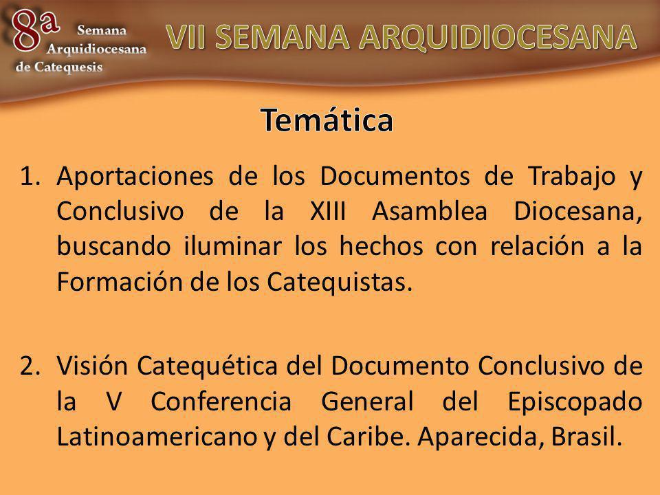 1.Aportaciones de los Documentos de Trabajo y Conclusivo de la XIII Asamblea Diocesana, buscando iluminar los hechos con relación a la Formación de lo