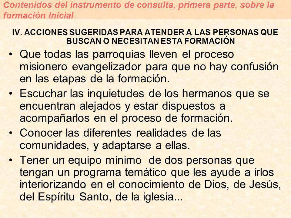 IV. ACCIONES SUGERIDAS PARA ATENDER A LAS PERSONAS QUE BUSCAN O NECESITAN ESTA FORMACIÓN Que todas las parroquias lleven el proceso misionero evangeli