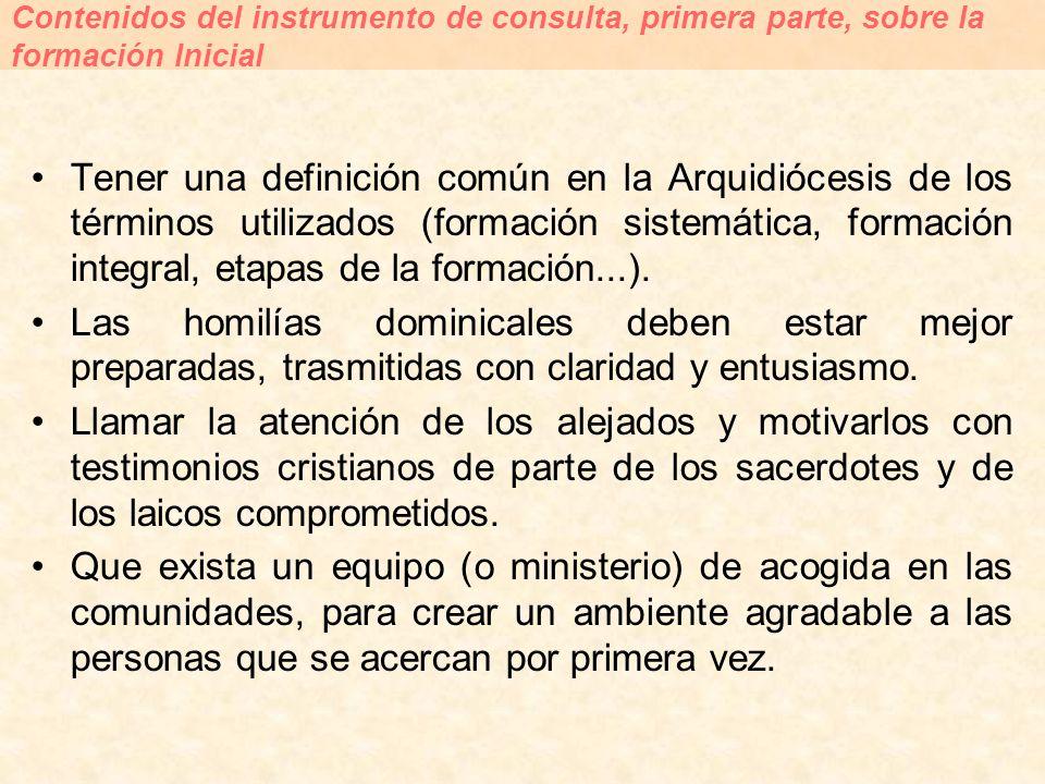 Tener una definición común en la Arquidiócesis de los términos utilizados (formación sistemática, formación integral, etapas de la formación...). Las