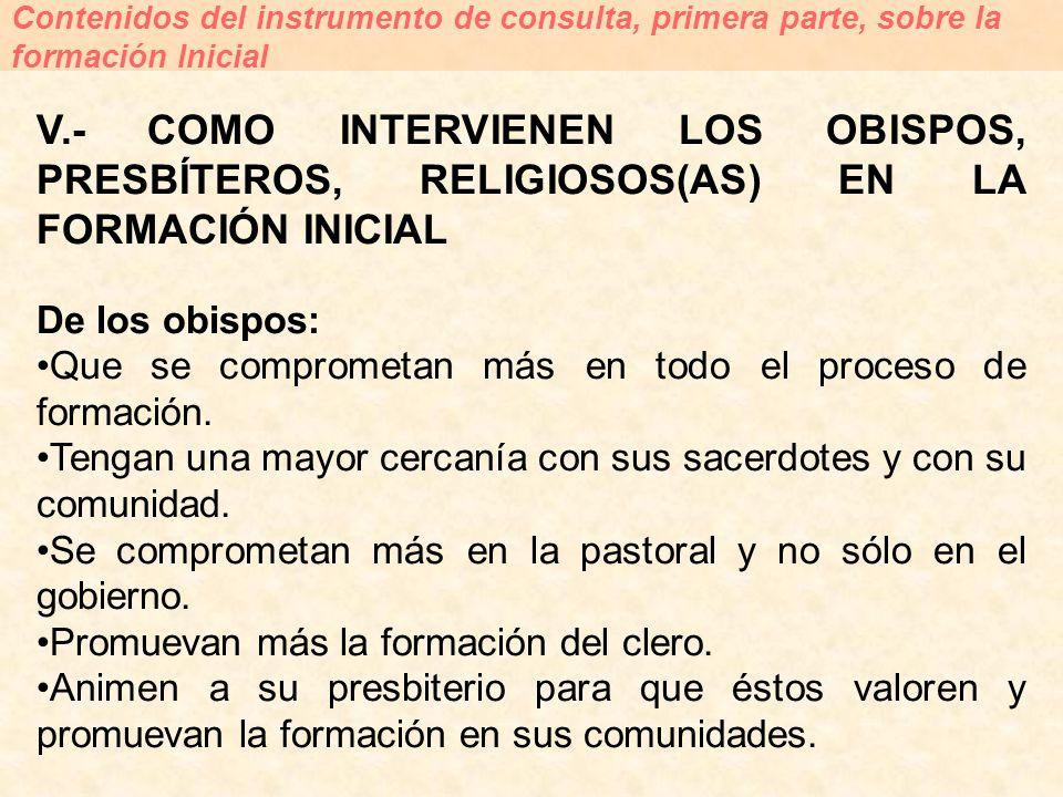 V.- COMO INTERVIENEN LOS OBISPOS, PRESBÍTEROS, RELIGIOSOS(AS) EN LA FORMACIÓN INICIAL De los obispos: Que se comprometan más en todo el proceso de for