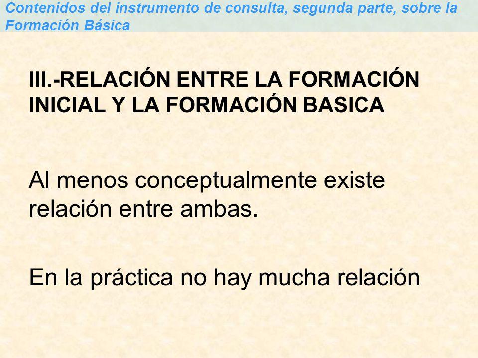 III.-RELACIÓN ENTRE LA FORMACIÓN INICIAL Y LA FORMACIÓN BASICA Al menos conceptualmente existe relación entre ambas. En la práctica no hay mucha relac