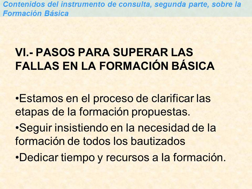 VI.- PASOS PARA SUPERAR LAS FALLAS EN LA FORMACIÓN BÁSICA Estamos en el proceso de clarificar las etapas de la formación propuestas. Seguir insistiend